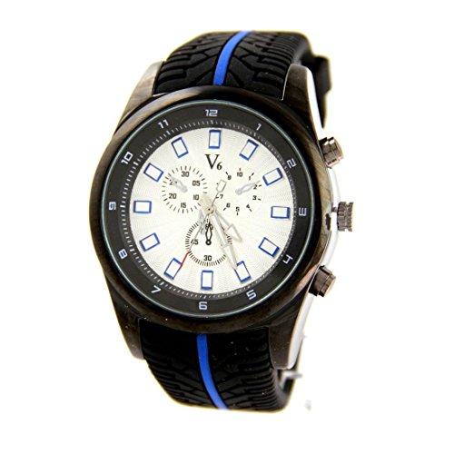 Zeigt Herren Armband Silikon Schwarz V6 1270