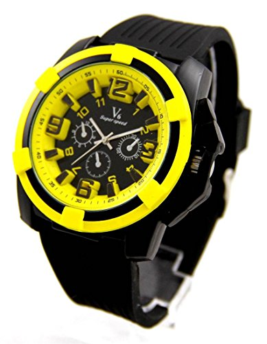 Zeigt Herren Fashion Armband Silikon Gelb V6 1268