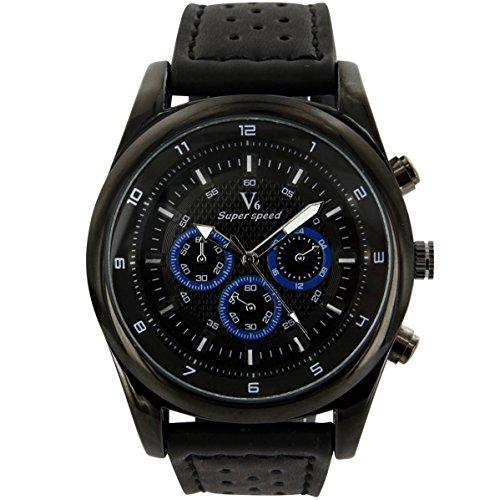 V6 Armbanduhr originelle Leder schwarz V6 1706