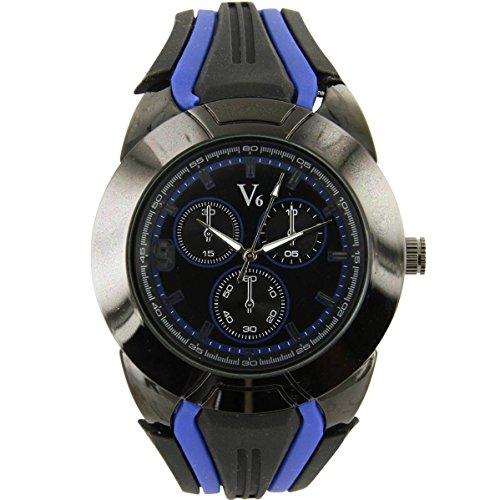 V6 Armbanduhr Silikon schwarz nicht teuer V6 1210
