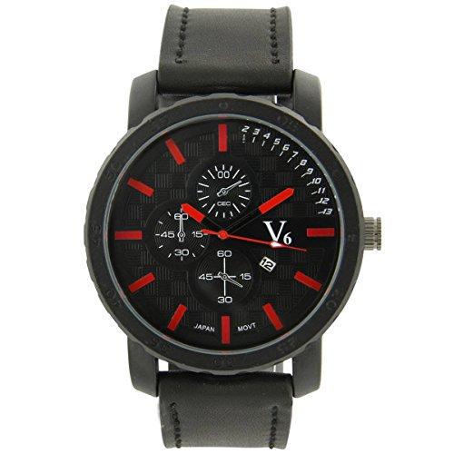 V6 Armbanduhr Belle zeigt Herren Leder schwarz V6 1049