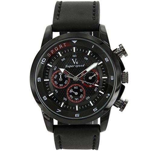 V6 Armbanduhr Belle zeigt Herren Leder schwarz V6 139