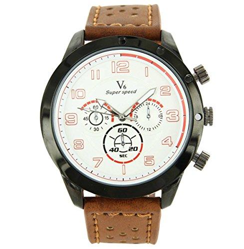 V6 Armbanduhr Belle zeigt Herren Leder braun V6 1040