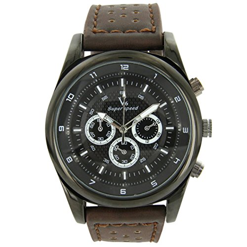 V6 Armbanduhr Leder Schokolade V6 925