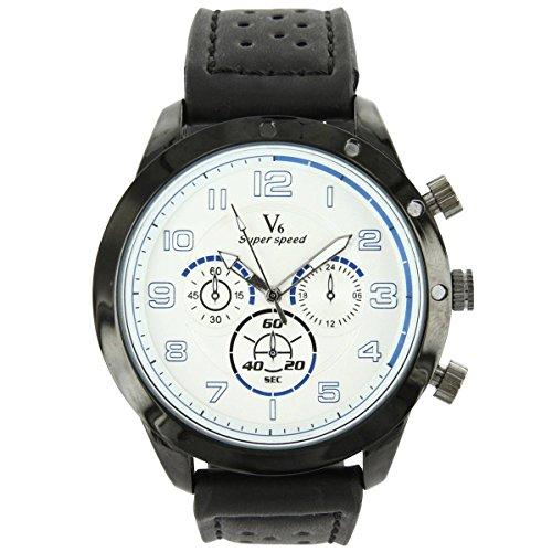 V6 Armbanduhr Leder Schwarz V6 1035