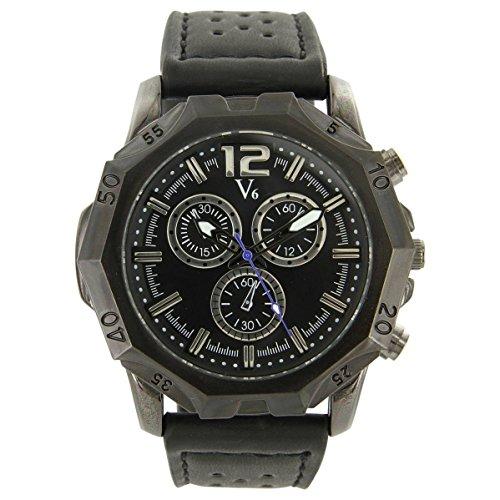V6 Armbanduhr Leder Schwarz V6 1450
