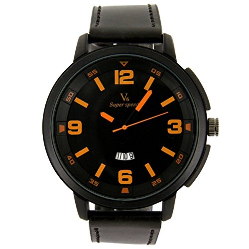 V6 Armbanduhr Leder Schwarz Nicht Teuer V6 2157
