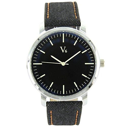 V6 Armbanduhr und seine Leder blau V6 109