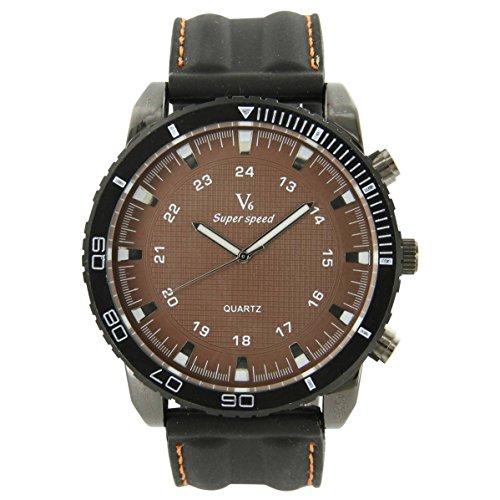 V6 Armbanduhr und Silikon Schwarz V6 553