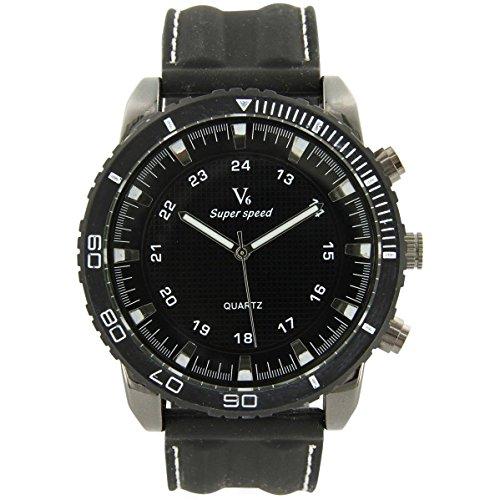 V6 Armbanduhr mit Silikon schwarz V6 367