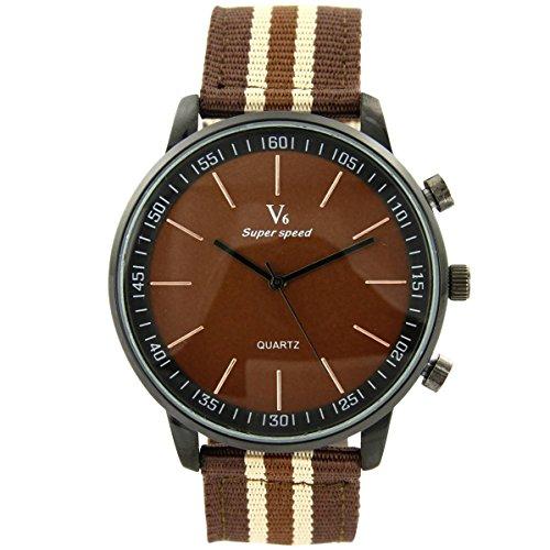 V6 Armbanduhr Stoff braun kleinen Preis V6 27