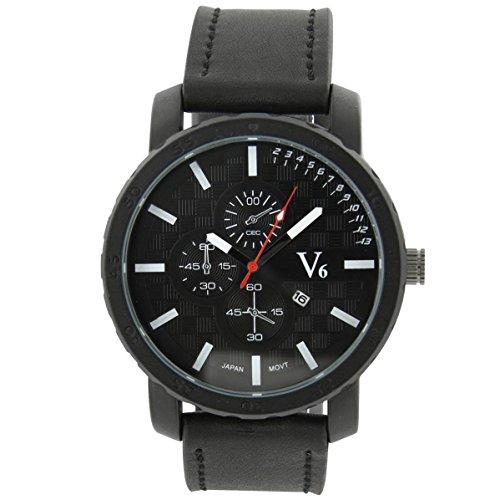 V6 Armbanduhr Herren Fashion Armbanduhr Leder schwarz V6 105