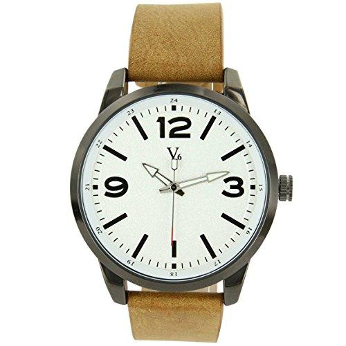 V6 Armbanduhr Leder beige V6 1492