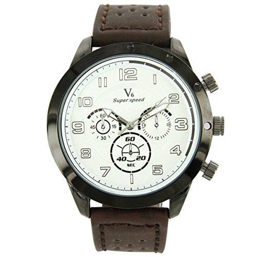 V6 Armbanduhr Leder Schokolade V6 1047