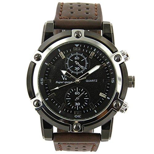 V6 Armbanduhr Leder Schokolade V6 1704