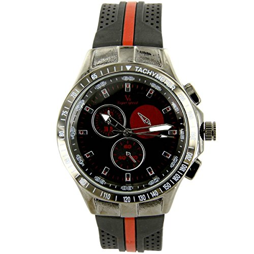 V6 Armbanduhr Silikon Schwarz V6 1180