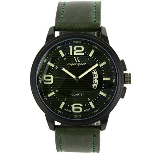 V6 Armbanduhr sehr schoene Armbanduhr Leder Gruen V6 1561