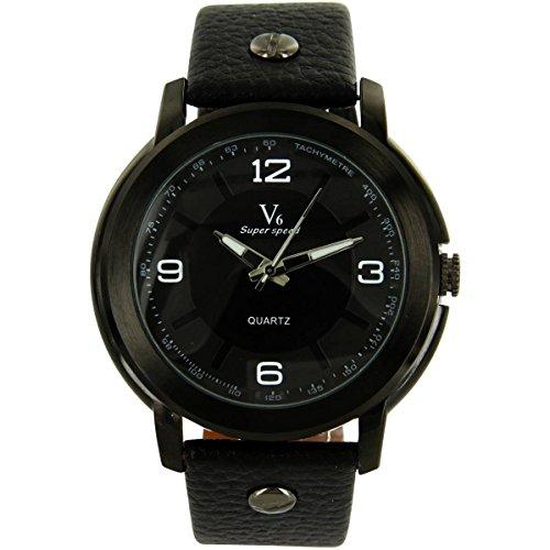 V6 Armbanduhr wunderschoene zeigt Herren Leder schwarz V6 1110