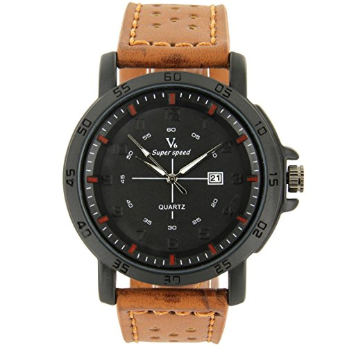 V6 Armbanduhr Zeigt Fun Herren Leder braun V6 10