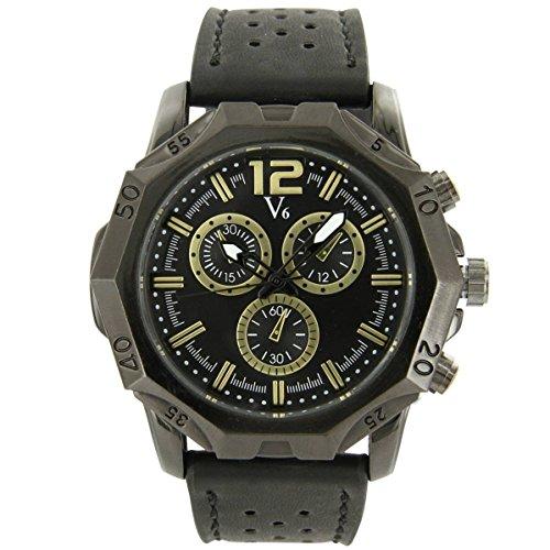 V6 Armbanduhr Zeigt D Herren Leder schwarz V6 1433