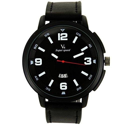 V6 Armbanduhr Zeigt Fun Herren Leder schwarz V6 1914