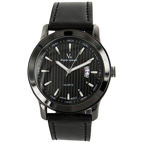V6 Armbanduhr Zeigt Stil Herren Leder schwarz V6 693