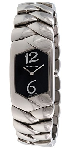 Tiffany Co Tesoro Stainless Steel Womens Watch Black Dial E2104 BLNX