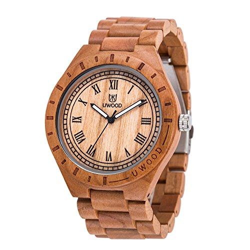 uwood Cherry Holz Material Herren Holz Armbanduhr Vintage klassische Holz Armbanduhr