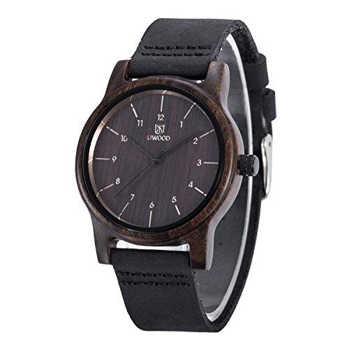 uwood schwarz Sandelholz Armbanduhr Casual Holz Fashion Holz Watch Herren Frauen