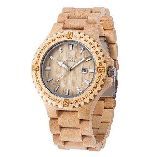 Uwood Natur Ahorn Holz Farbe Holz japanische Quarz Uhrwerk Holz Uhr fuer Mann Mode Armbanduhr