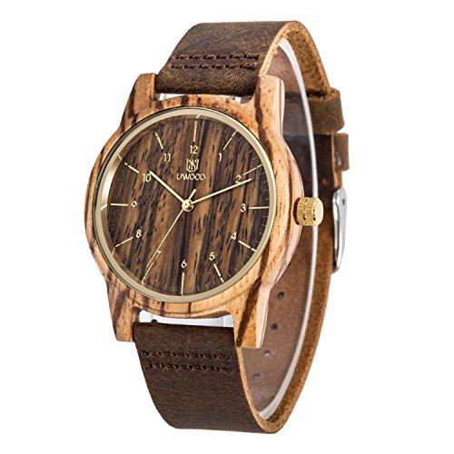 uwood Zebra Holz Armbanduhr Echter Lederband Vintage Retro Holz Armbanduhr Leder Band