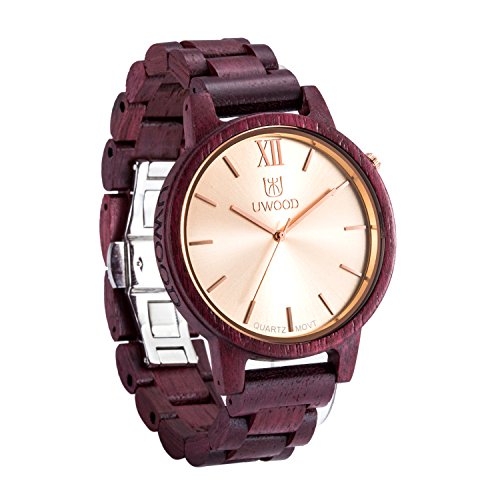 Uwood Brandneu Purple Heart Holz Material Rare duennen Maenner Holz Uhr aus Holz Uhren fuer Maenner