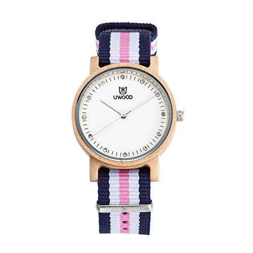 Uwood duenne Ahorn Holz Uhr mit Nylon Band Dame Holz Uhren
