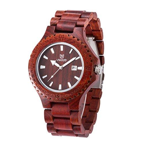Uwood handgefertigt Rot Sandale aus Holz japanische Quarz Uhrwerk Holz Uhr fuer Mann Geschenk Uhren
