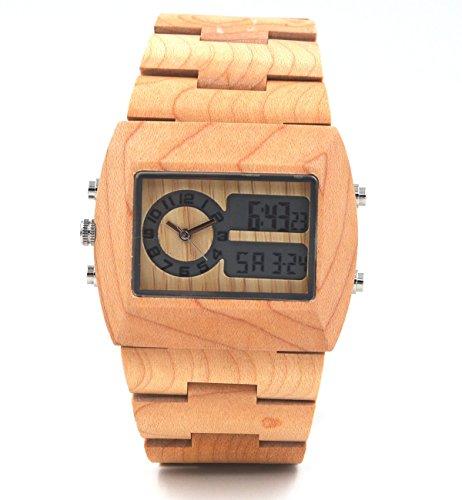 Uwood Handgemachte Analog Digital doppelte Bewegung aus Holz Uhren fuer Maenner Luxus Unisex Armbanduhr Holz