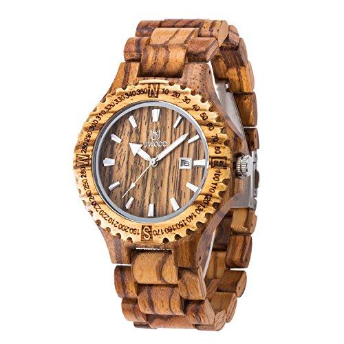 Uwood Handgemachtes Zebra Sandale aus Holz japanische Quarz Uhrwerk Holz Uhr fuer Mann Sandelholz Armbanduhr
