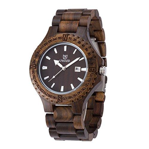Uwood Handmade Schwarz Sandale aus Holz japanische Quarz Uhrwerk Holz Uhr fuer Mann Kleid Luxury Holz Uhr