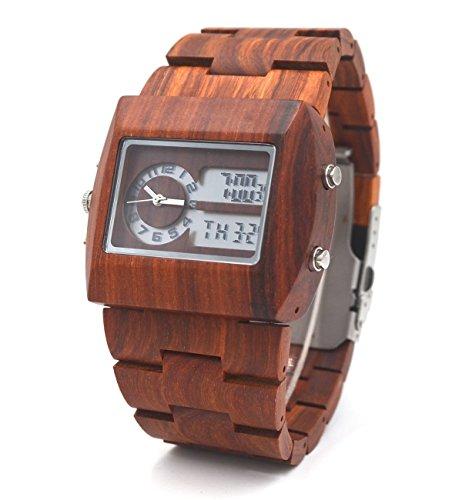 Uwood Rot Sandale aus Holz Uhr Luxuxentwerfer japanische doppelte Bewegung LED Holz Uhren Anzeigen fuer Maenner