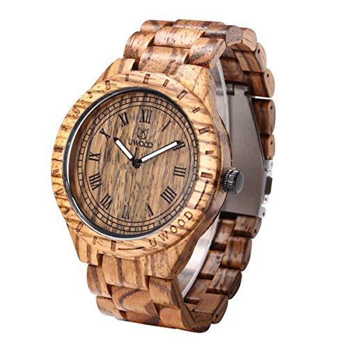 Uwood Zebra Holz Maenner Frauen Groesse 47 5mm Vintage Retro Art hoelzerne Uhren