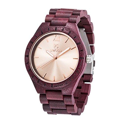 Uwood New Nature Purple Heart hoelzerne Uhr Luxuxentwerfer hoelzerne Uhren