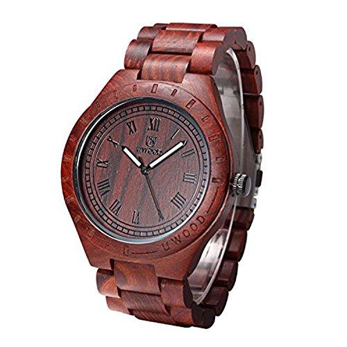 Uwood roemische Zahl Vintage Style Rotes Sandelholz Holz Uhr Mann Armbanduhr