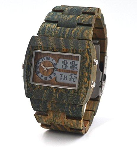 Uwood Gruen Sandale aus Holz Uhr Limited Eddition Multifunktionales LED Holz Uhren fuer Maenner
