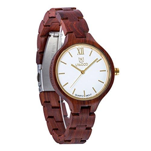 Uwood rotem Sandelholz Holz Frauen Dame Armbanduhr Schweizer Uhrwerk Qualitaet aus Holz Uhr mit mit dem Kasten