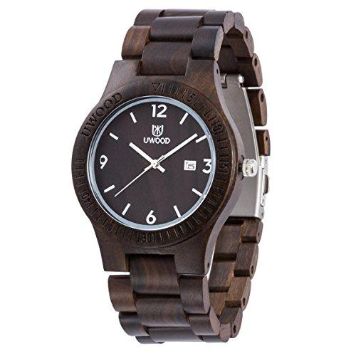 Uwood Schwarz Sandale aus Holz japanische Quarz analoge Uhr Maenner kleiden Holz Uhren