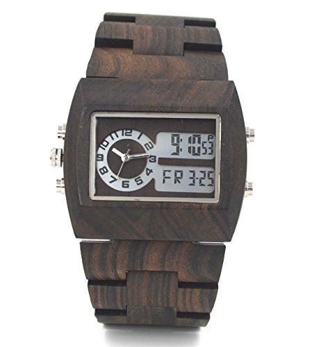 Uwood Schwarz Sandale aus Holz Analog Digital Multifunktions Leuchtanzeige Holz Uhr fuer Maenner