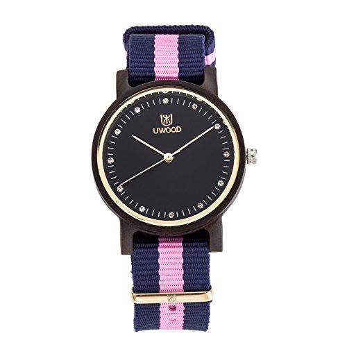 UWOOD Schwarz Sandalwood Uhr fuer Frauen beilaeufige Holz Uhren