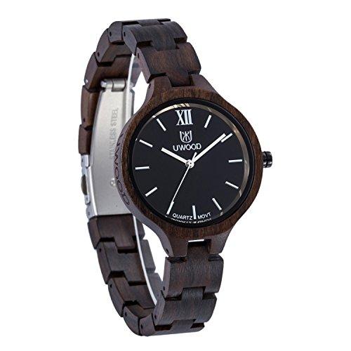 Uwood Schwarz Sandelholz Uhr handgemachte Frauen Natural Wood Holz Uhr Frauen Damen