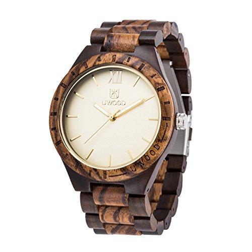 Uwood UW1001 Zebra Holz und schwarzem Sandelholz Mixed Vintage Wood Uhr fuer Maenner