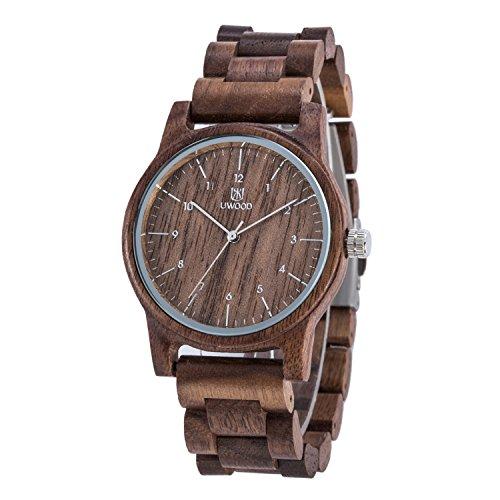 Uwood Walnussholz Uhr Vintage Retro beilaeufige Holz Uhr Japan Quarz Bewegung