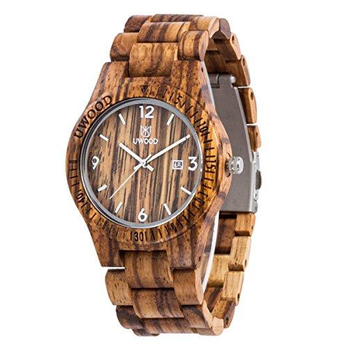Uwood Mode Zebra Sandale aus Holz Quarz Holz Uhr Wasser Beweis Slim Wood Uhren